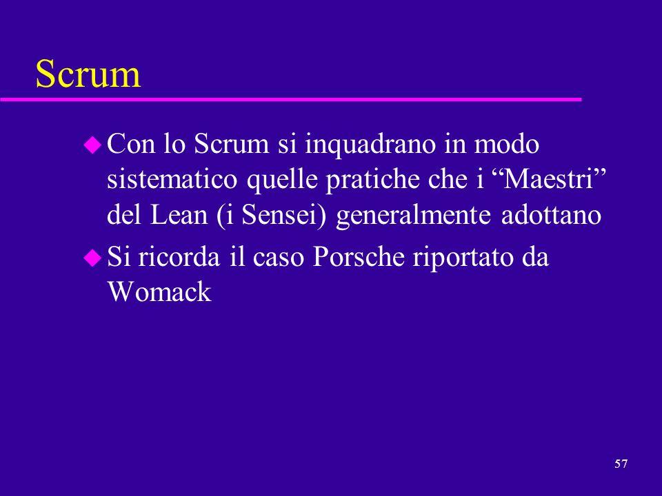 Scrum Con lo Scrum si inquadrano in modo sistematico quelle pratiche che i Maestri del Lean (i Sensei) generalmente adottano.