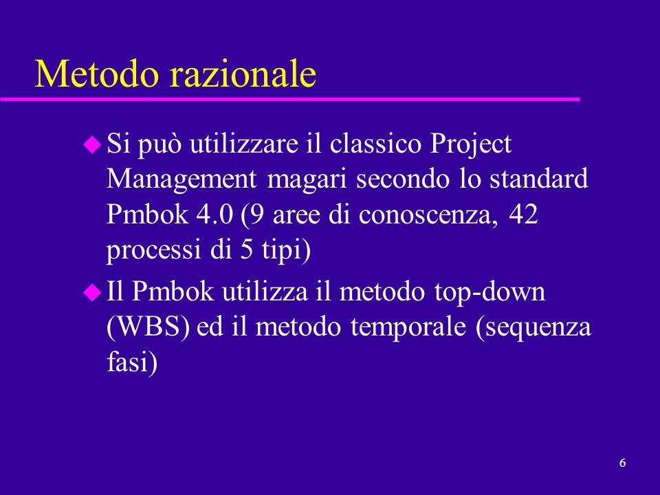 Metodo razionale Si può utilizzare il classico Project Management magari secondo lo standard Pmbok 4.0 (9 aree di conoscenza, 42 processi di 5 tipi)
