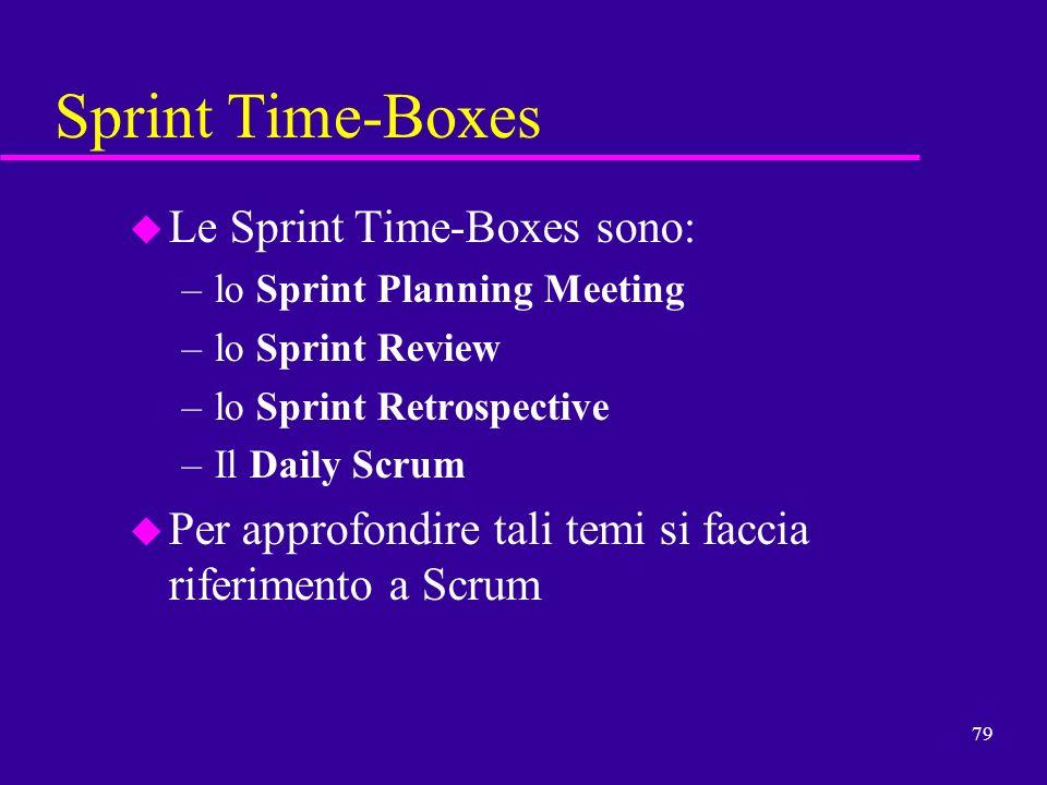 Sprint Time-Boxes Le Sprint Time-Boxes sono: