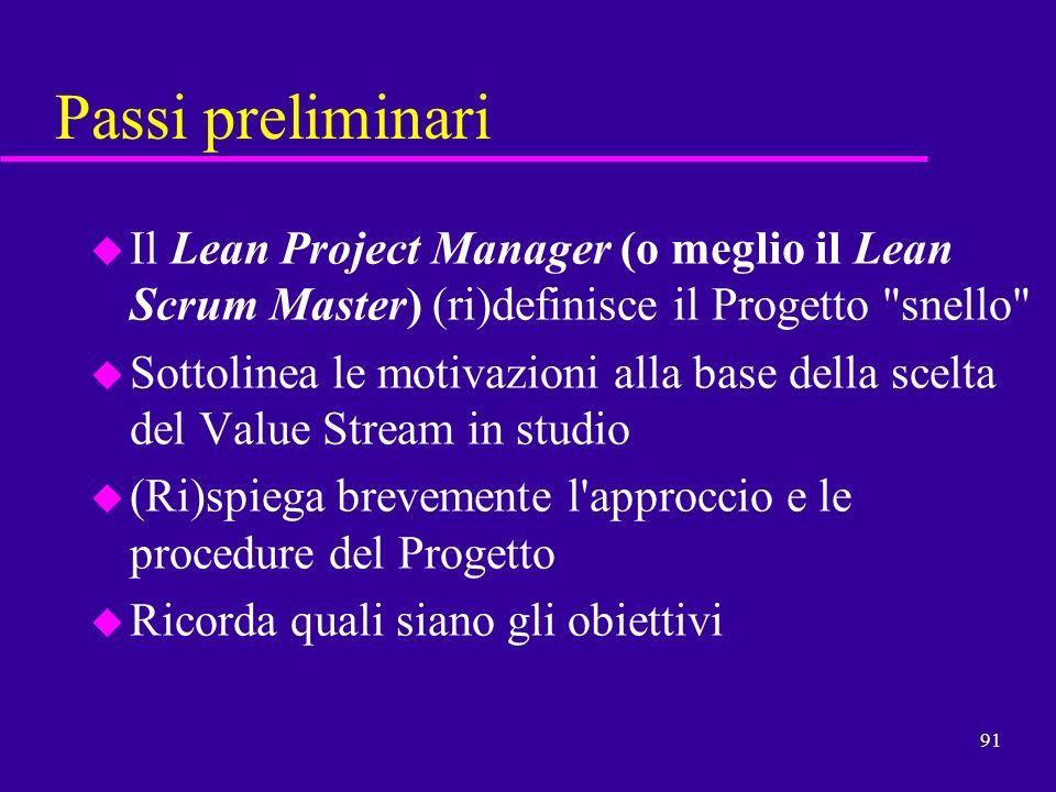 Passi preliminari Il Lean Project Manager (o meglio il Lean Scrum Master) (ri)definisce il Progetto snello