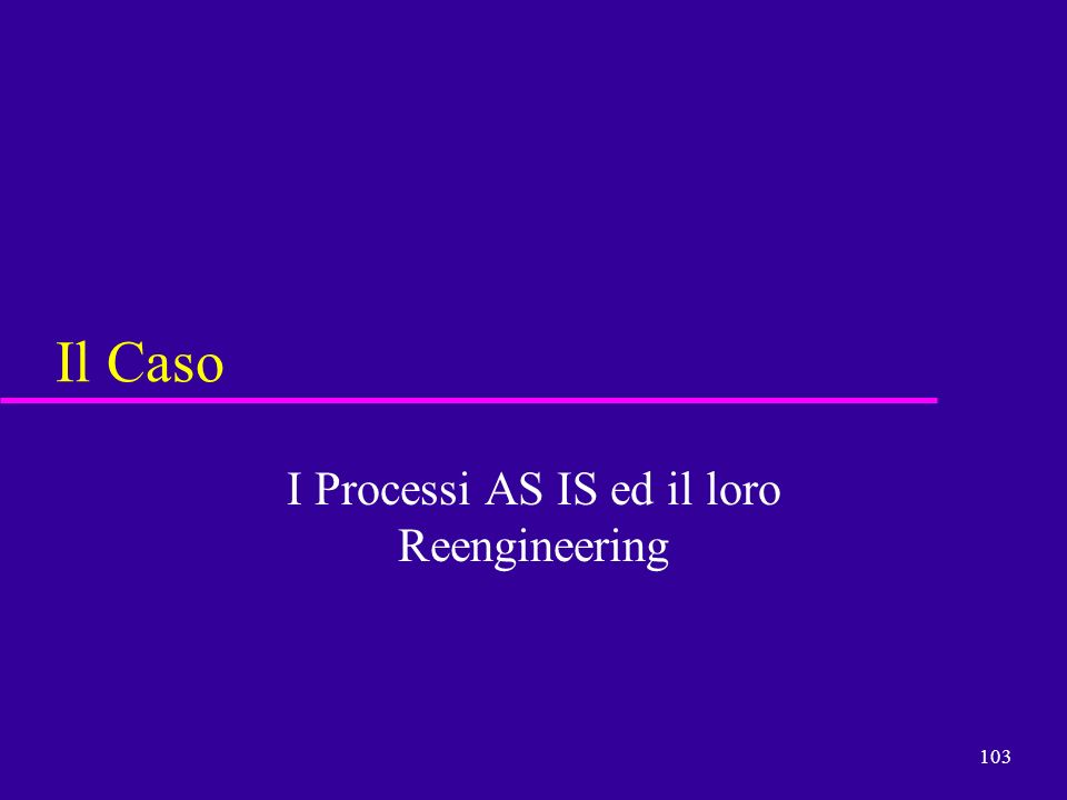 I Processi AS IS ed il loro Reengineering