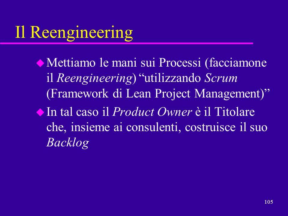 Il ReengineeringMettiamo le mani sui Processi (facciamone il Reengineering) utilizzando Scrum (Framework di Lean Project Management)