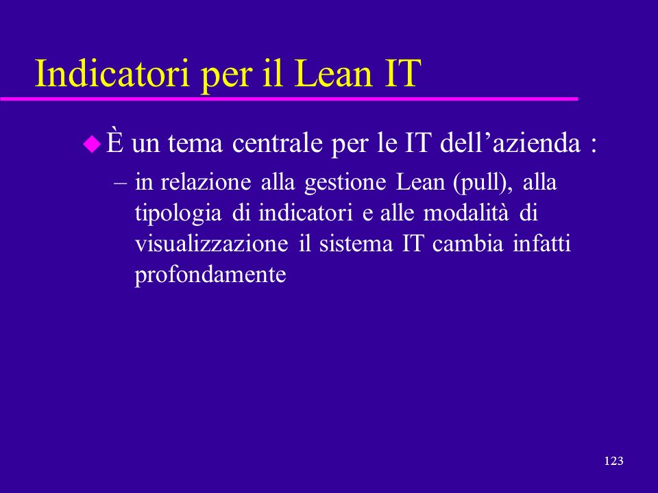 Indicatori per il Lean IT