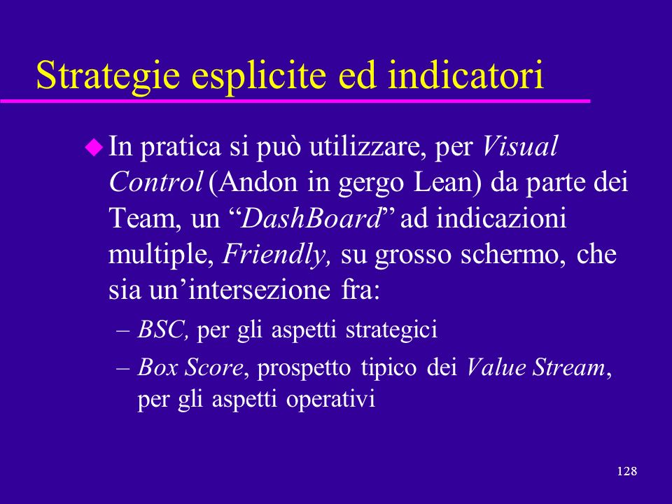 Strategie esplicite ed indicatori