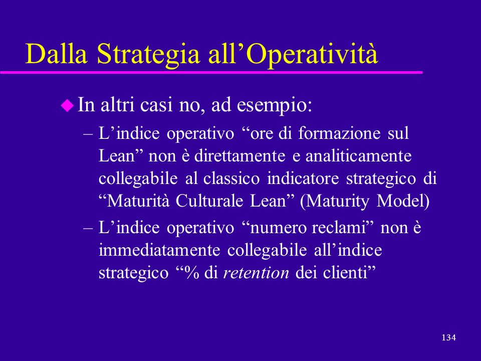 Dalla Strategia all'Operatività