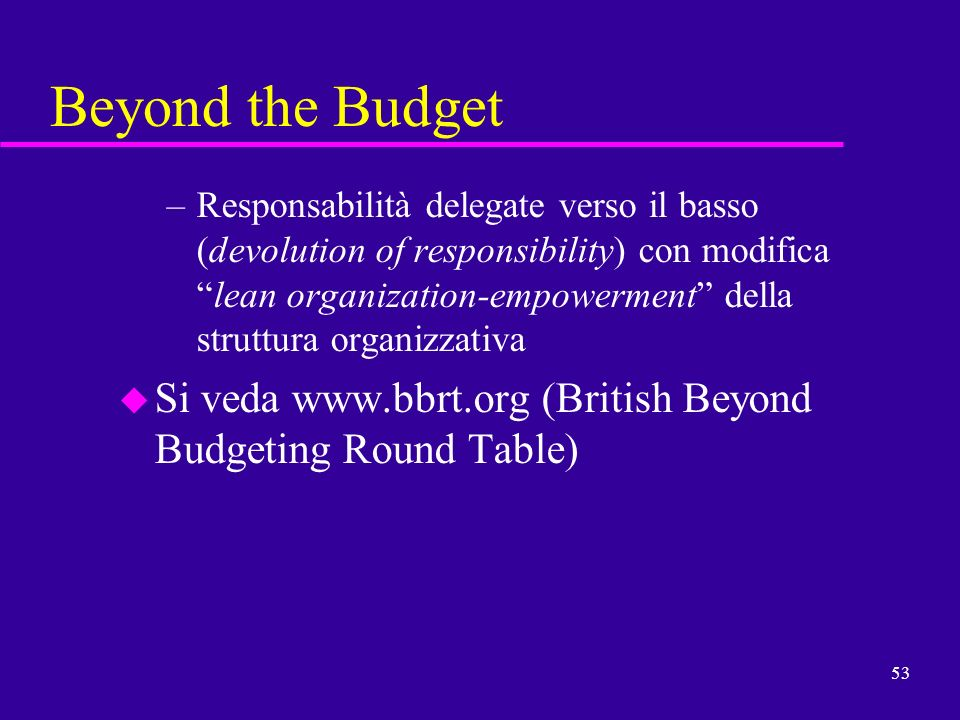 Beyond the Budget