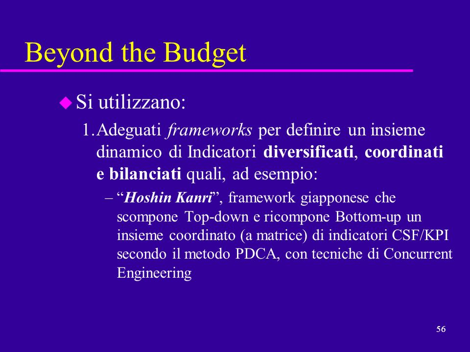 Beyond the Budget Si utilizzano: