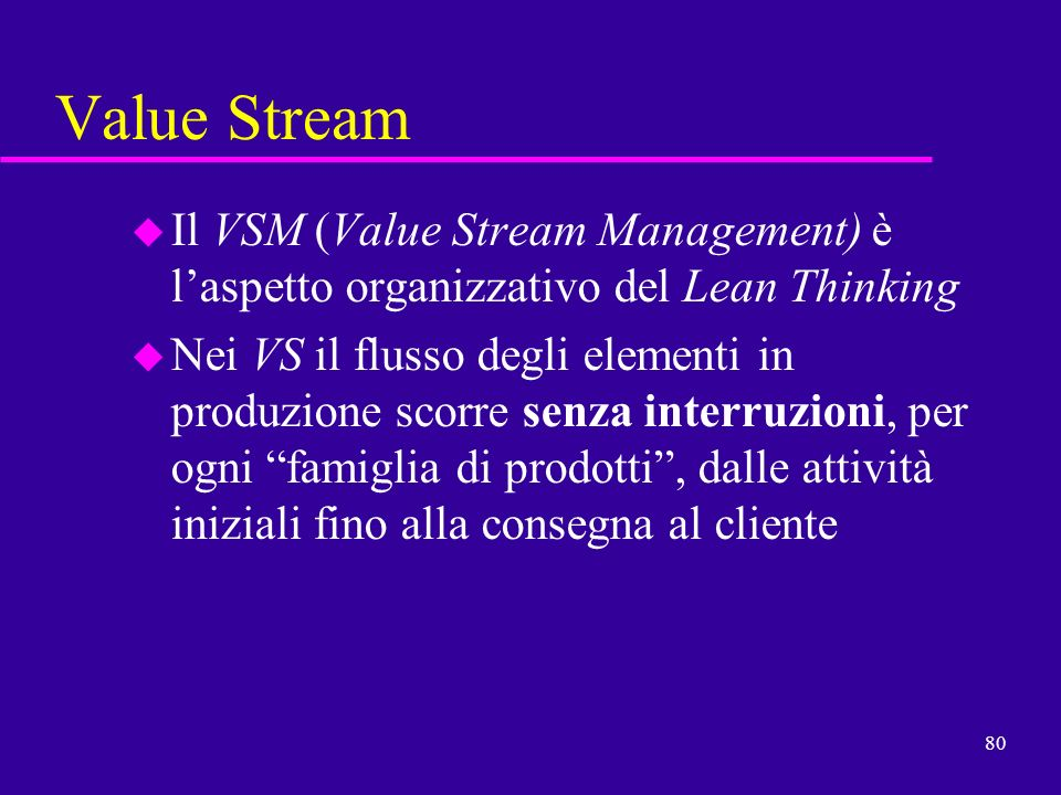 Value Stream Il VSM (Value Stream Management) è l'aspetto organizzativo del Lean Thinking.