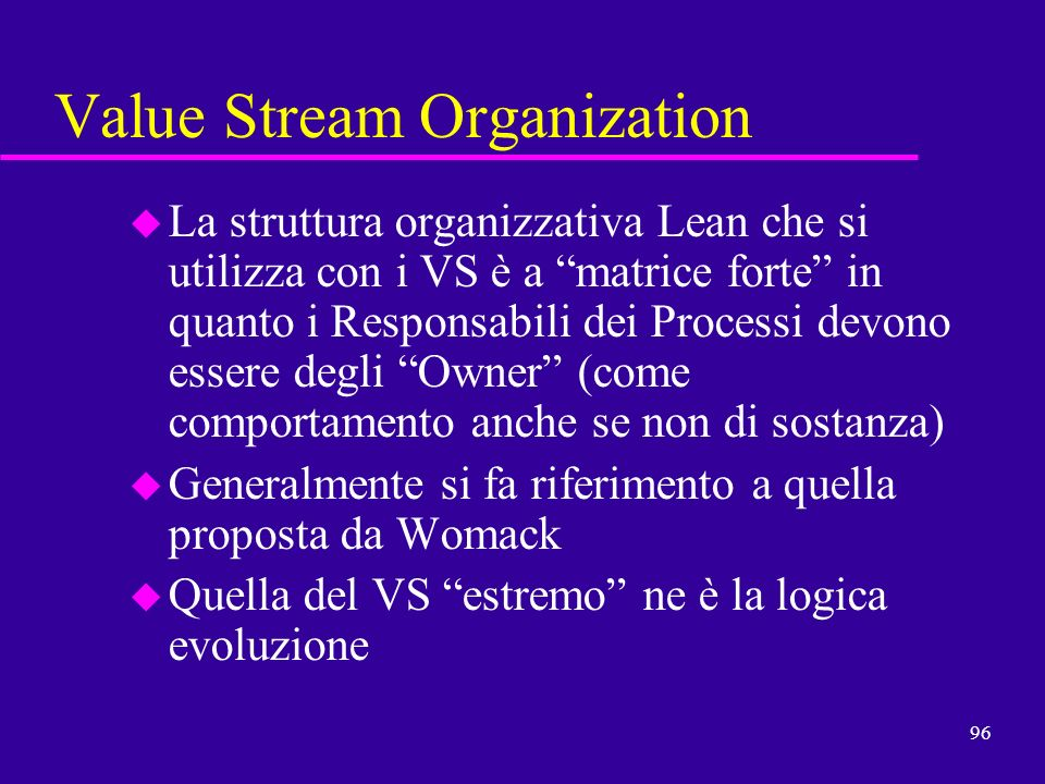 Value Stream Organization
