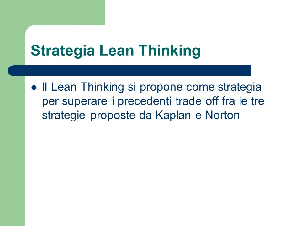 Strategia Lean Thinking