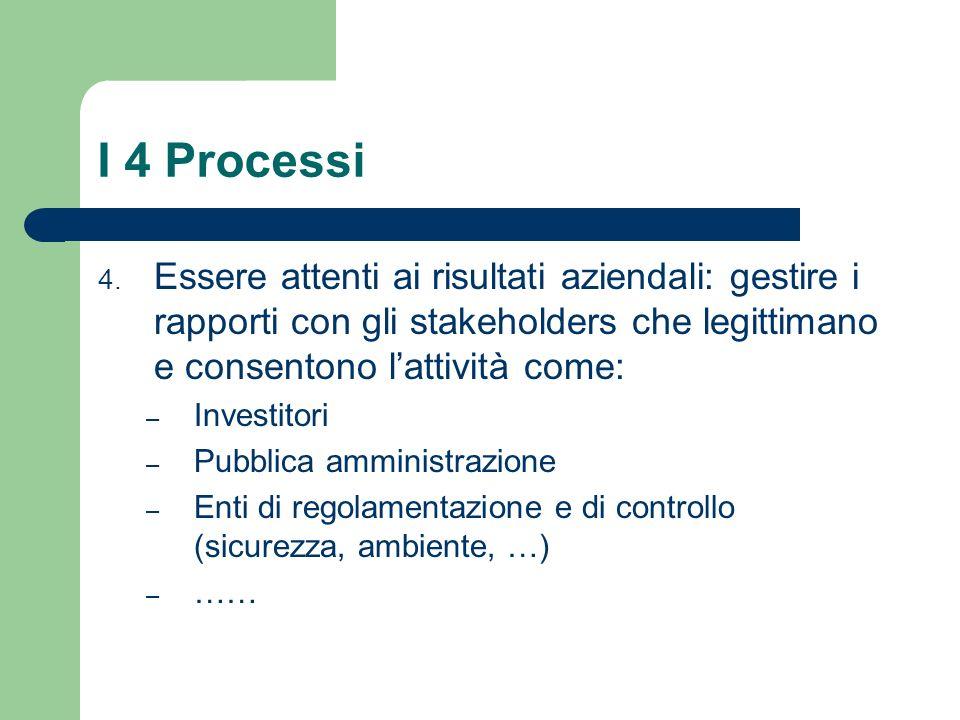 I 4 Processi Essere attenti ai risultati aziendali: gestire i rapporti con gli stakeholders che legittimano e consentono l'attività come: