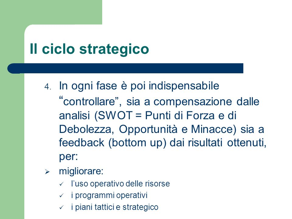 Il ciclo strategico