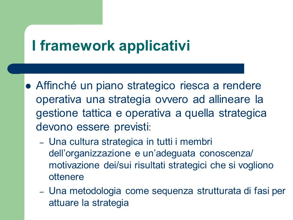 I framework applicativi