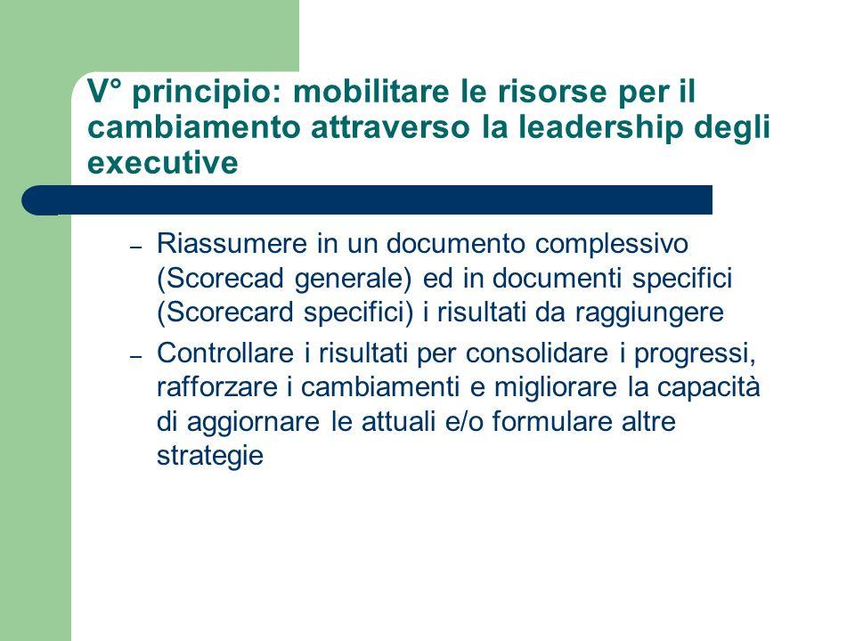 V° principio: mobilitare le risorse per il cambiamento attraverso la leadership degli executive