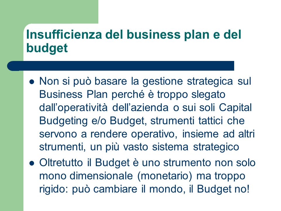 Insufficienza del business plan e del budget