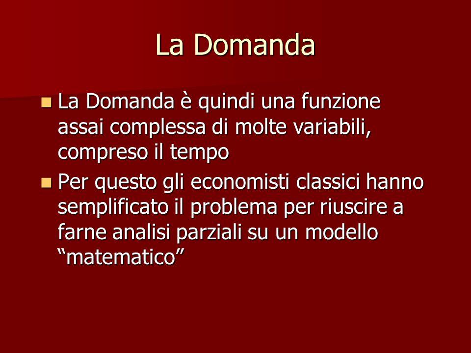 La Domanda La Domanda è quindi una funzione assai complessa di molte variabili, compreso il tempo.