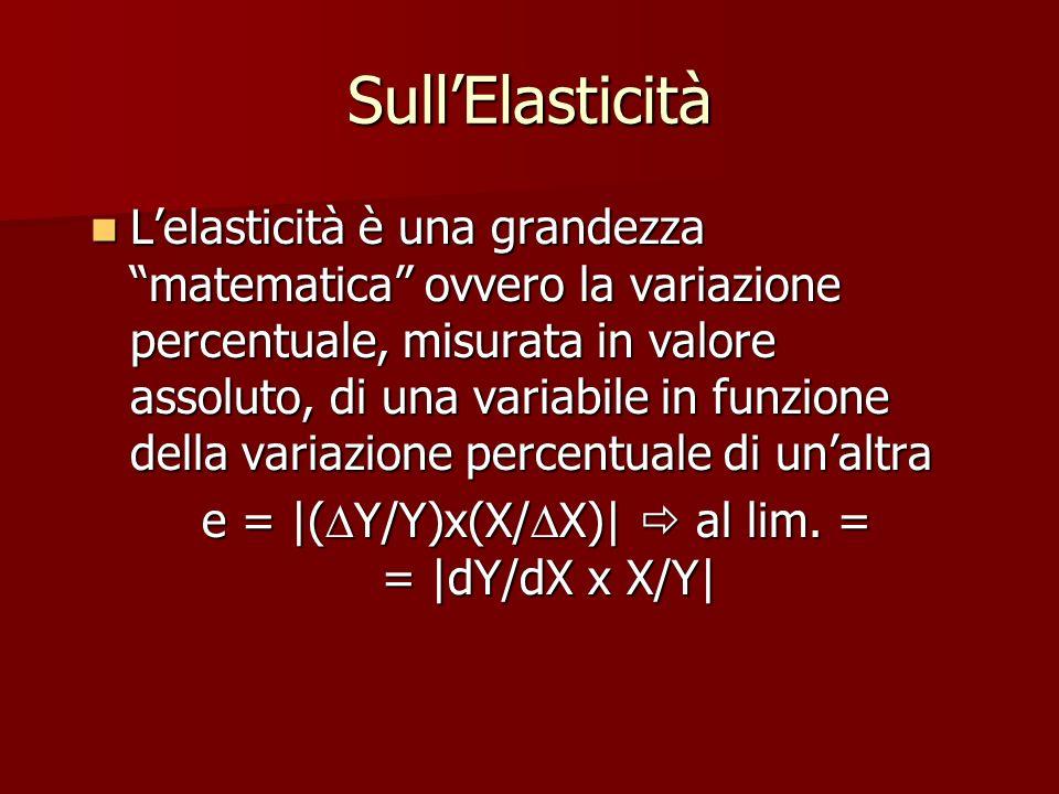 e = |(DY/Y)x(X/DX)|  al lim. = = |dY/dX x X/Y|