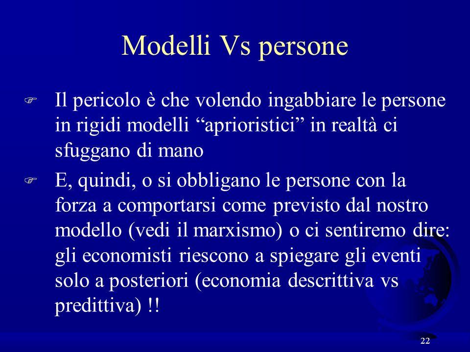 Modelli Vs persone Il pericolo è che volendo ingabbiare le persone in rigidi modelli aprioristici in realtà ci sfuggano di mano.