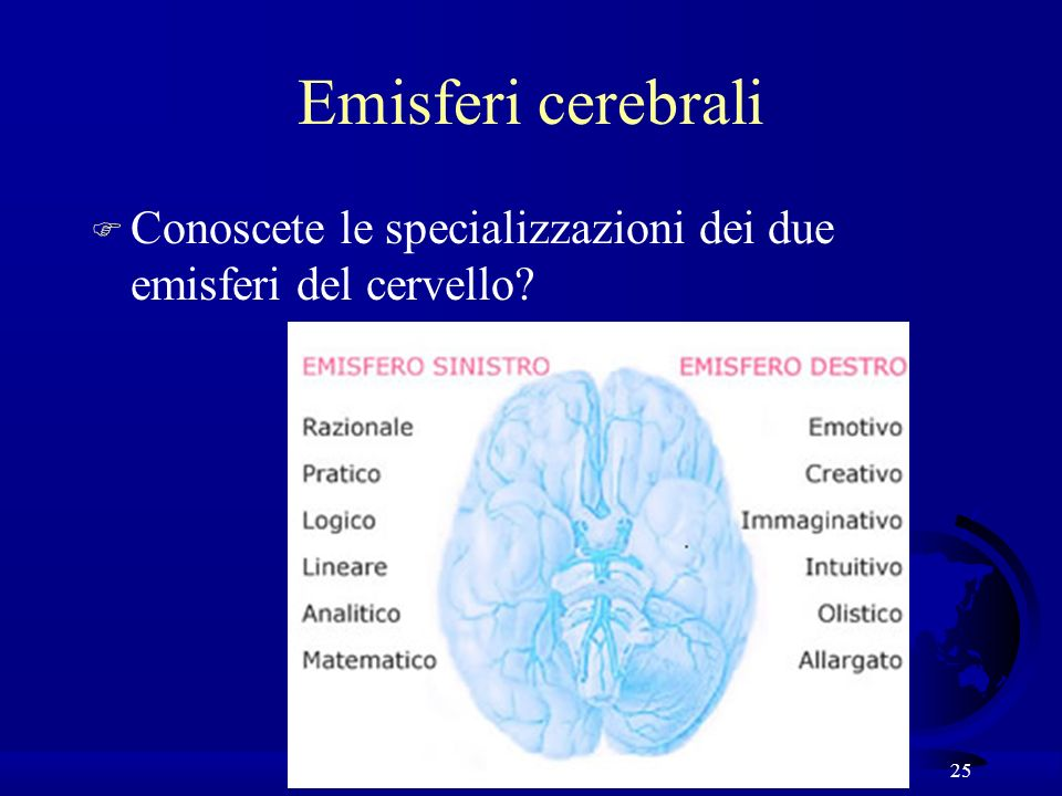 Emisferi cerebrali Conoscete le specializzazioni dei due emisferi del cervello