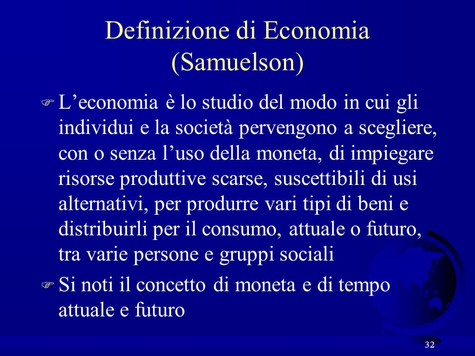 Definizione di Economia (Samuelson)