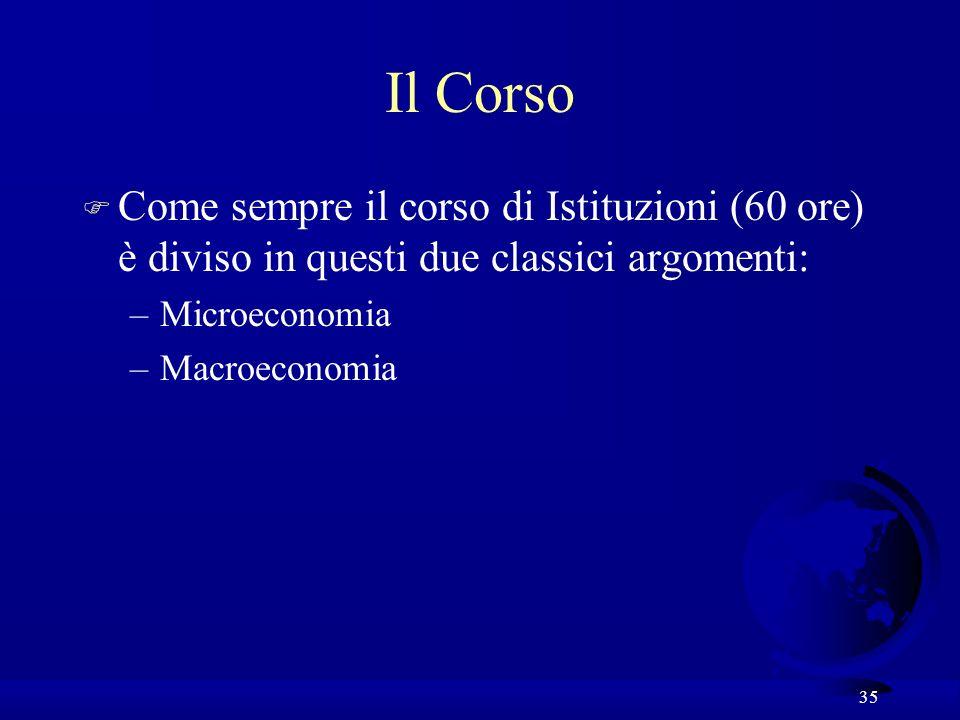 Il Corso Come sempre il corso di Istituzioni (60 ore) è diviso in questi due classici argomenti: Microeconomia.