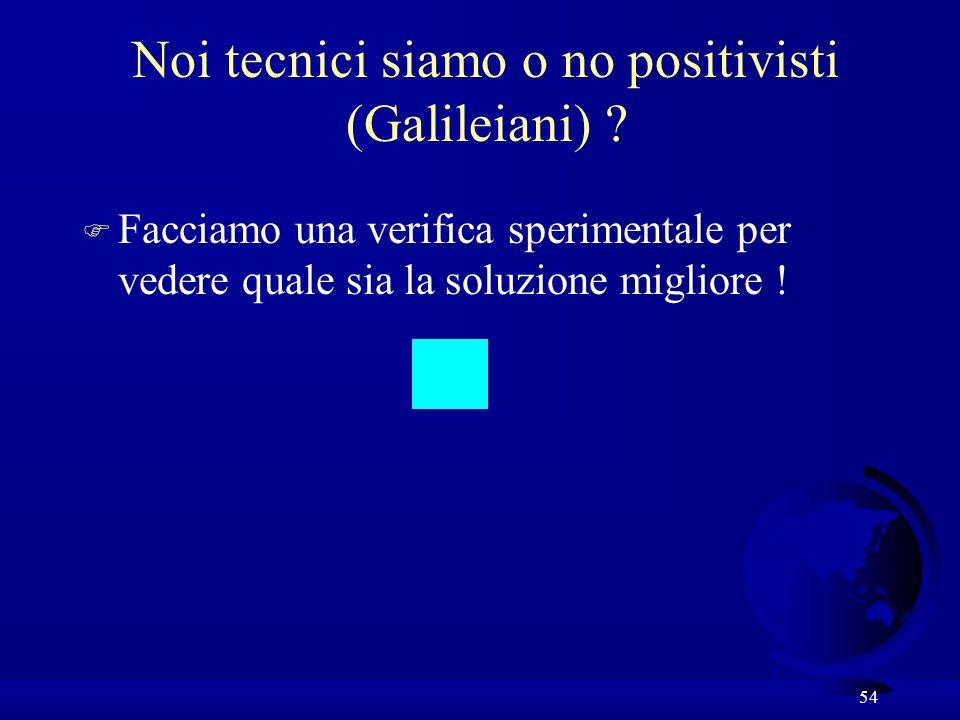 Noi tecnici siamo o no positivisti (Galileiani)
