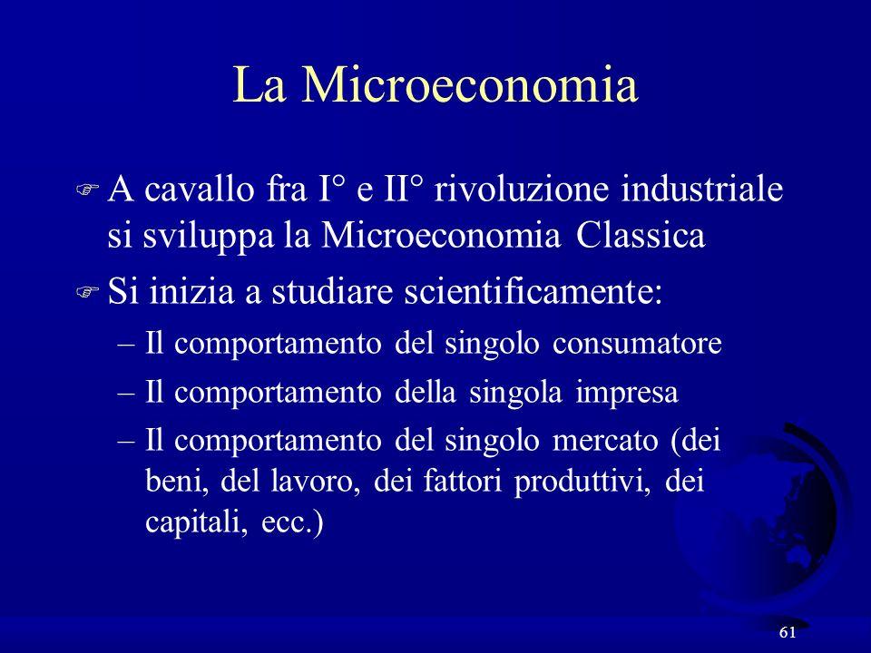 La Microeconomia A cavallo fra I° e II° rivoluzione industriale si sviluppa la Microeconomia Classica.