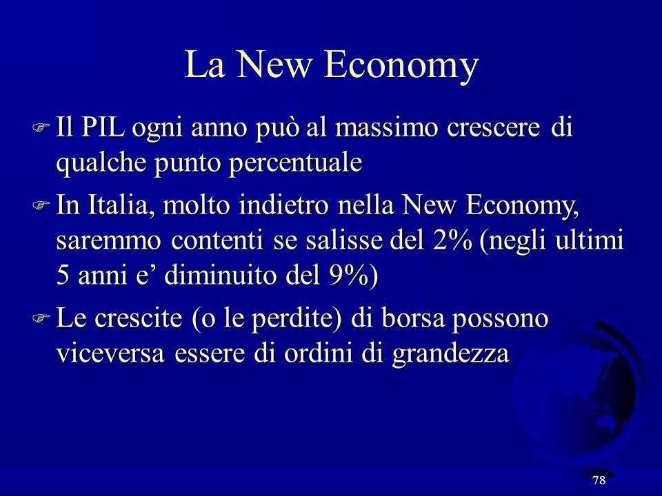 La New Economy Il PIL ogni anno può al massimo crescere di qualche punto percentuale.
