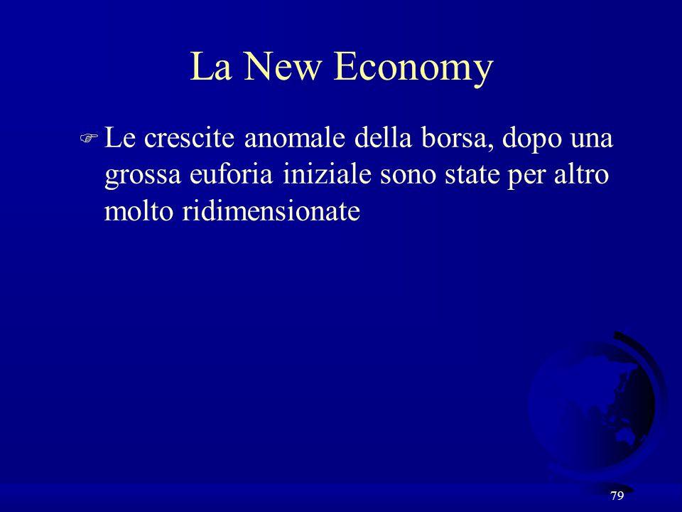 La New Economy Le crescite anomale della borsa, dopo una grossa euforia iniziale sono state per altro molto ridimensionate.