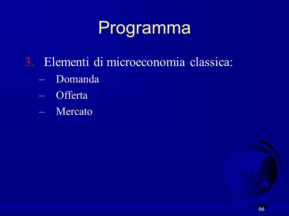 Programma Elementi di microeconomia classica: Domanda Offerta Mercato