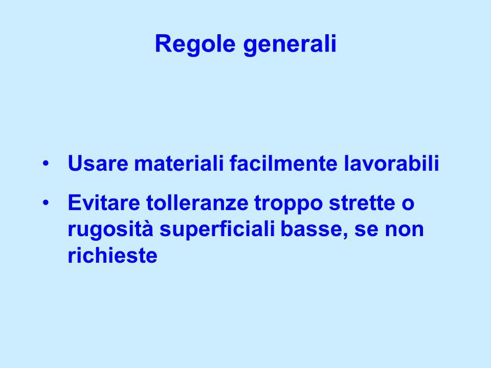 Regole generali Usare materiali facilmente lavorabili