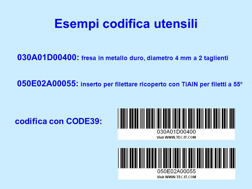 Esempi codifica utensili