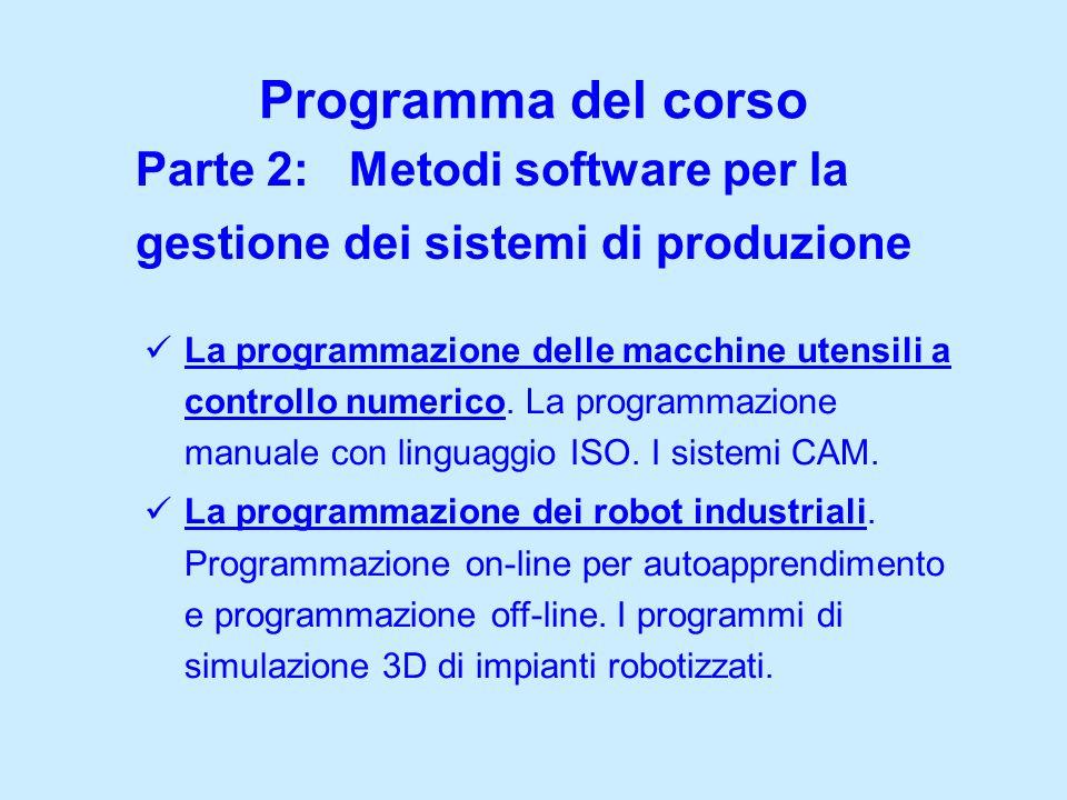 Programma del corsoParte 2: Metodi software per la gestione dei sistemi di produzione.
