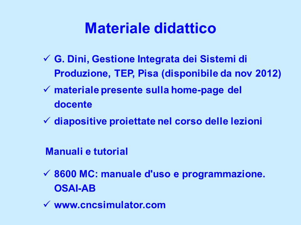 Materiale didatticoG. Dini, Gestione Integrata dei Sistemi di Produzione, TEP, Pisa (disponibile da nov 2012)