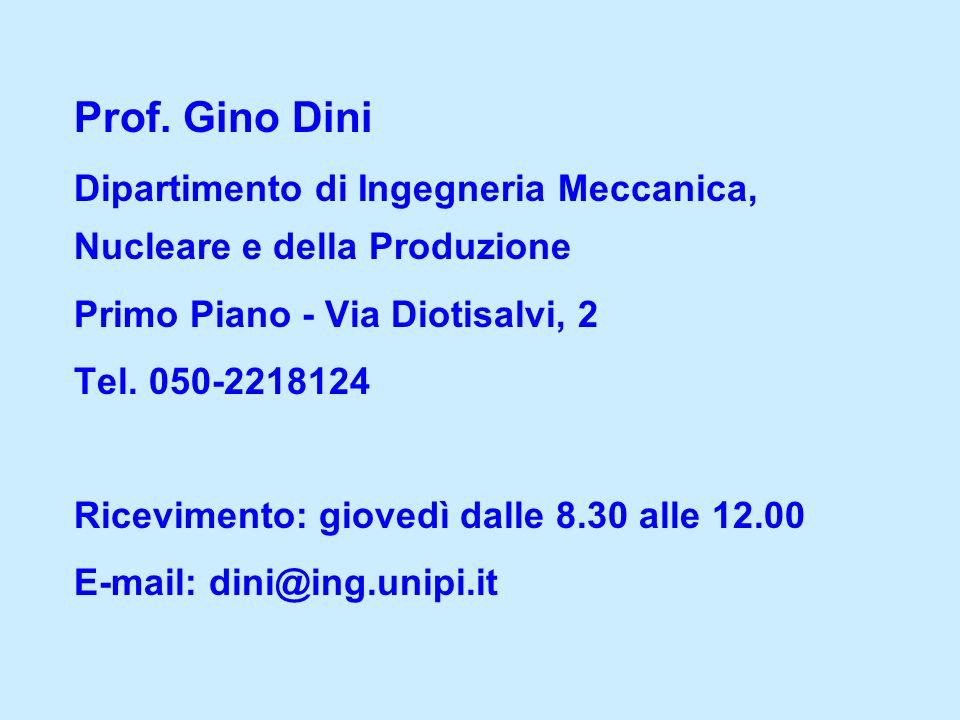 Prof. Gino Dini Dipartimento di Ingegneria Meccanica, Nucleare e della Produzione. Primo Piano - Via Diotisalvi, 2.