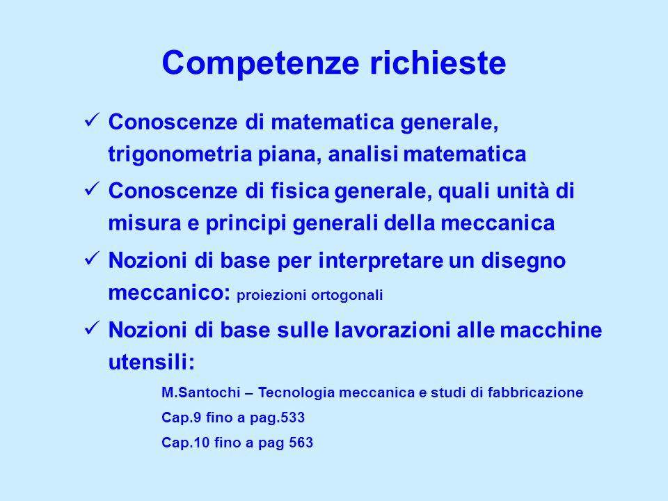 Competenze richieste Conoscenze di matematica generale, trigonometria piana, analisi matematica.