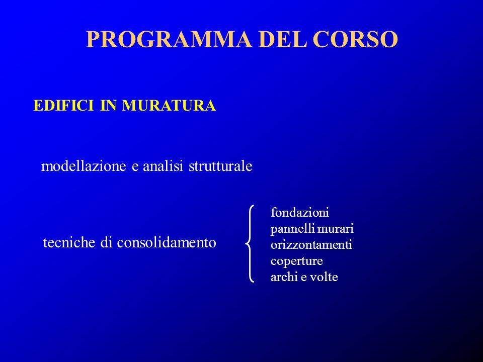 PROGRAMMA DEL CORSO EDIFICI IN MURATURA