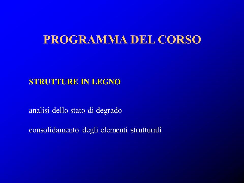 PROGRAMMA DEL CORSO STRUTTURE IN LEGNO analisi dello stato di degrado
