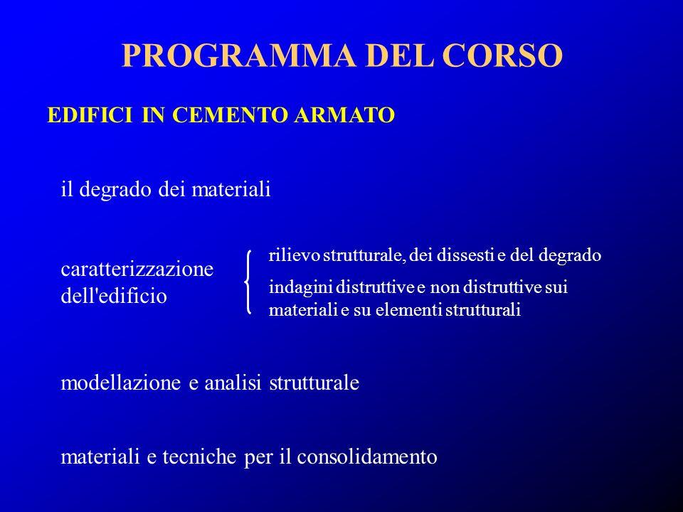 PROGRAMMA DEL CORSO EDIFICI IN CEMENTO ARMATO il degrado dei materiali