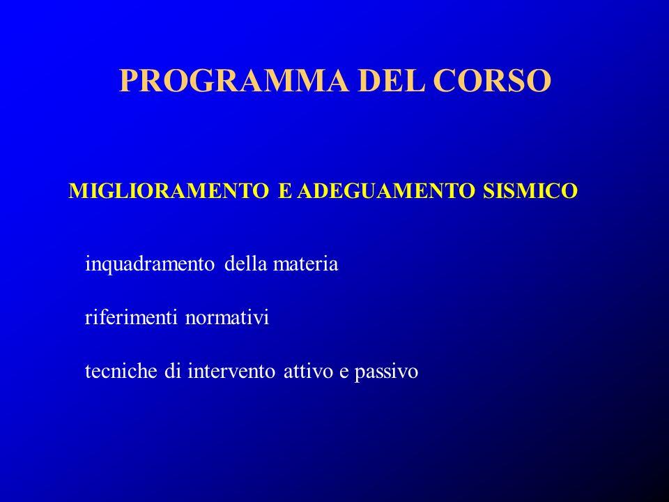 PROGRAMMA DEL CORSO MIGLIORAMENTO E ADEGUAMENTO SISMICO