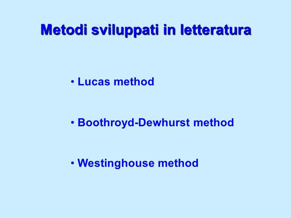 Metodi sviluppati in letteratura