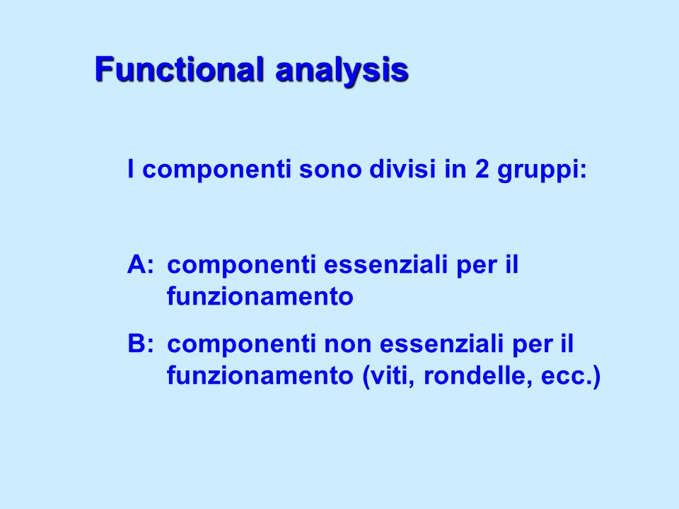 Functional analysis I componenti sono divisi in 2 gruppi: