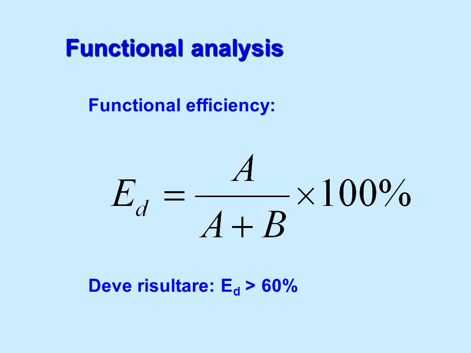 Functional analysis Functional efficiency: Deve risultare: Ed > 60%