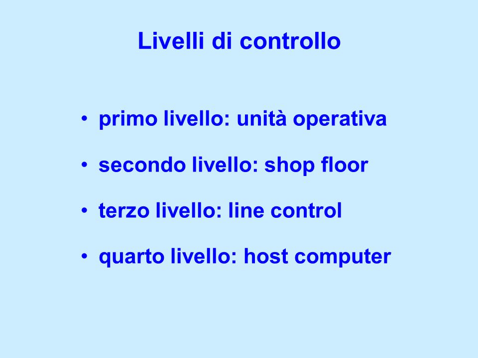 Livelli di controllo primo livello: unità operativa
