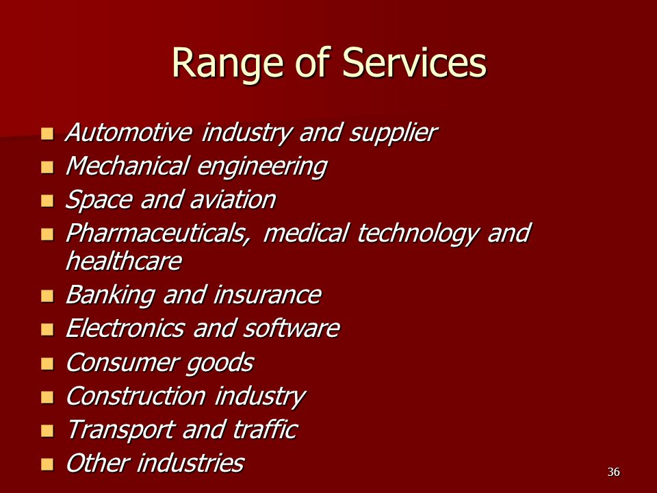 Range of Services Automotive industry and supplier