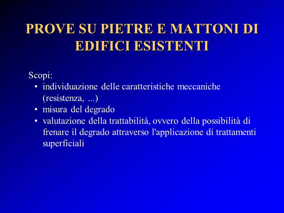 PROVE SU PIETRE E MATTONI DI EDIFICI ESISTENTI