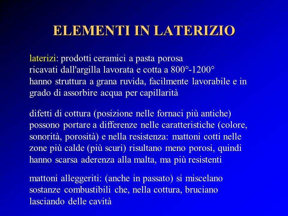 ELEMENTI IN LATERIZIO laterizi: prodotti ceramici a pasta porosa