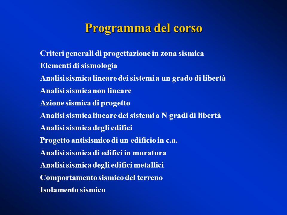 Programma del corso Criteri generali di progettazione in zona sismica