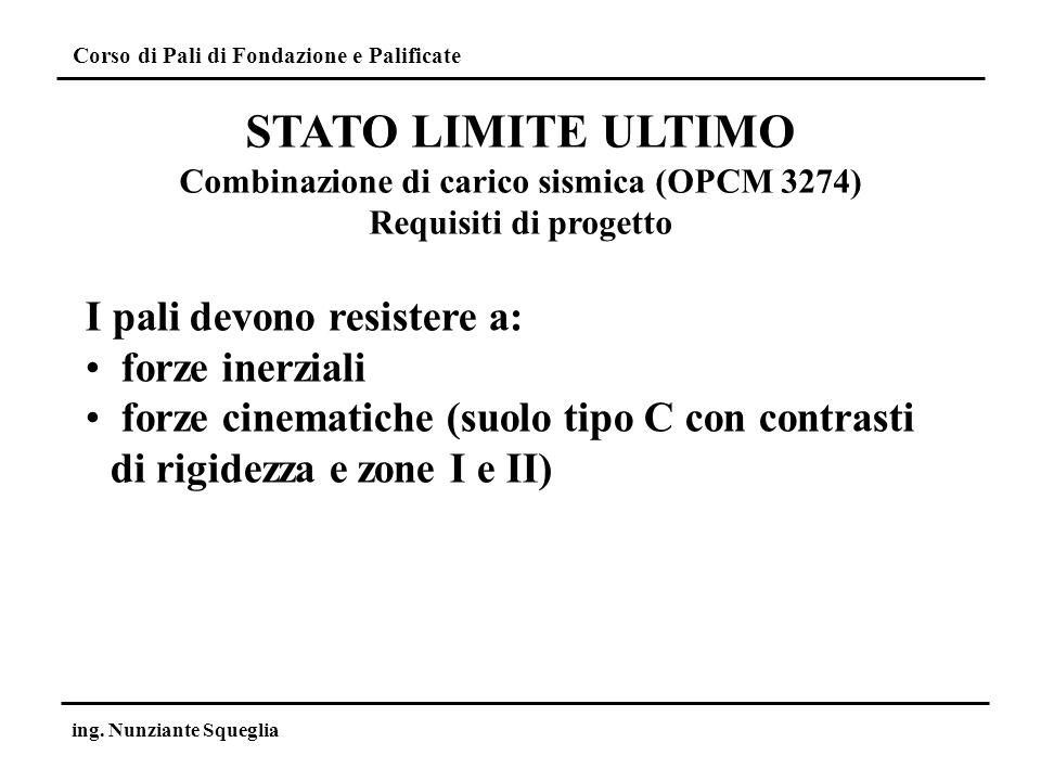 Combinazione di carico sismica (OPCM 3274)