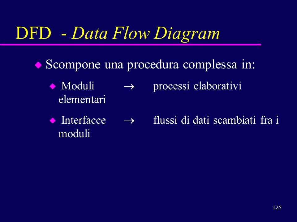 DFD - Data Flow Diagram Scompone una procedura complessa in: